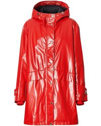 Burberry Horseferry-print Parka Coat - Red