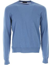 Prada Light Blue Cotton Sweater