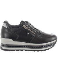 Nero Giardini Grey Leather Sneakers