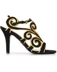 Prada Spiral Motif Sandals - Black