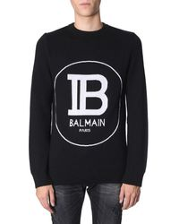 Balmain Crew-neck Jumper With Jacquard Big Logo - Black