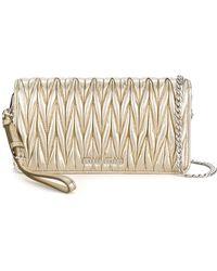 Miu Miu Gold Leather Shoulder Bag - Metallic