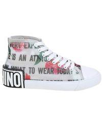 Moschino Polyamide Hi Top Sneakers - White