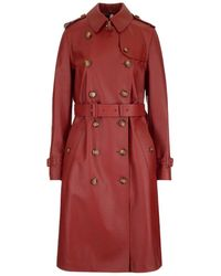 Burberry LEDER TRENCH COAT - Rot