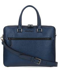 Ferragamo Blue Leather Briefcase