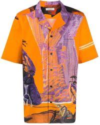 Valentino Seidenhemd Yellow City - Orange