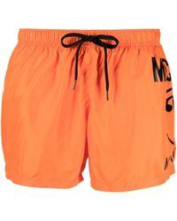 Moschino Badeshorts mit Logo-Print - Orange
