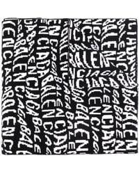 Balenciaga Wavy Logo Knitted Scarf - Black