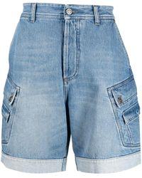 Balmain Embroidered-logo Denim Shorts - Blue