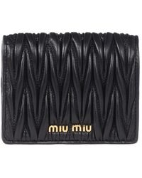 Miu Miu Black Matelasse Nappa Leather Wallet