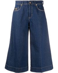 Versace Jeans Couture High-waist Flared Culottes - Blue