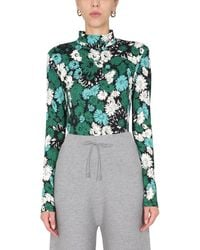 Paul Smith Tall Neck Jumper With Floral Print - Green