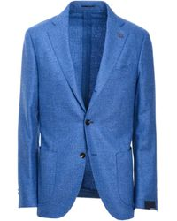 Lardini Light Blue Wool Blazer
