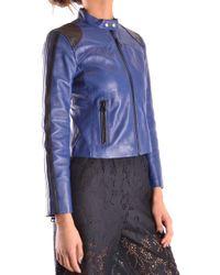 Pinko Blue/black Leather Outerwear Jacket
