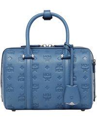 MCM - Essential Boston Bag In Monogram Leather - Lyst