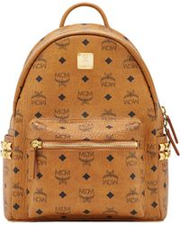 MCM Dual Stark Small Visetos Faux-Leather Backpack  - Brown