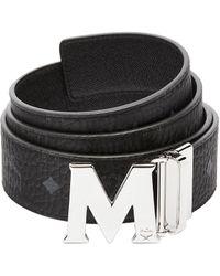 MCM Claus M Reversible Belt 4.5 Cm In Visetos - Black