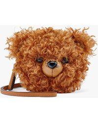 MCM Bear Pouch Charm In Faux Fur Visetos - Brown