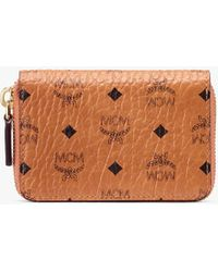MCM Zip Wallet In Visetos - Brown