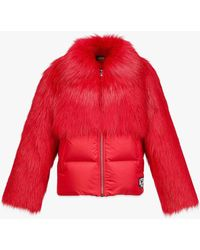 MCM Faux Fur Puffer Jacket - Red