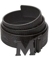 MCM Claus Logo-detail Reversible Coated-canvas Belt - Black