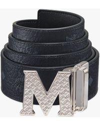 MCM Claus Textured M Reversible Belt 4.5 Cm In Visetos - Black