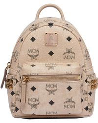 MCM - Stark Side Studs Bebe Boo Backpack In Visetos - Lyst