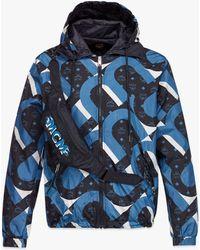 MCM Wave Visetos Print Windbreaker With Belt Bag In Econyl® - Blue