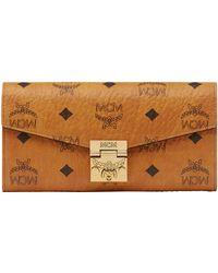 mcm patricia visetos accordion wallet cognacred cognac