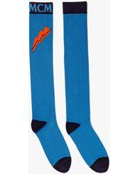 MCM Intarsia Knit Logo Knee-high Socks - Blue