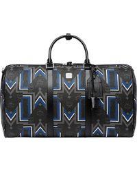 MCM Traveller Weekender In Visetos Gunta Stripe - Black