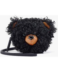 MCM Bear Pouch Charm In Faux Fur Visetos - Black