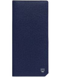 MCM New Bric Long Two Fold Wallet In Embossed Leather - Blue