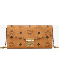 MCM Patricia Visetos Two Fold Wallet With Chain - Brown
