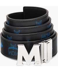 """MCM Claus M Reversible Belt 1.5"""" In Embossed Leather - Blue"""
