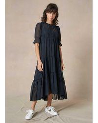 ME+EM Polka Dot Print Double-layer Dress + Tie - Blue