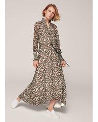 ME+EM Brush Stroke Floral Print Georgette Maxi Dress - Multicolour