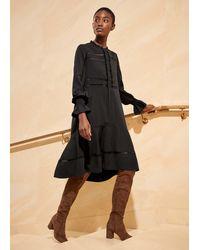 ME+EM Lace Insert Woven Swing Dress - Black
