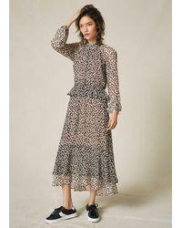 ME+EM Large Dot Keyhole Dress + Tie - Brown