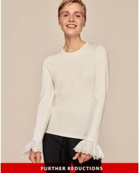 ME+EM - Broderie Cuff Layering Tee - Lyst