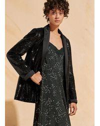 ME+EM Sequin + Satin Tux Blazer - Black