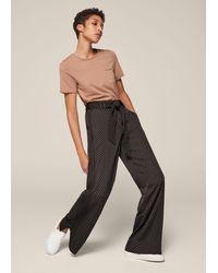 ME+EM Polka Dot Print Wide-leg Trouser + Belt - Black