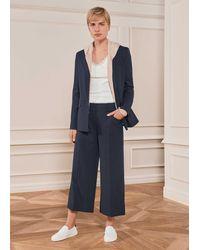 ME+EM Pinstripe Wide-leg Crop Trouser - Blue