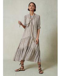 ME+EM Leaf Print Double Layer Dress + Tie - Multicolour
