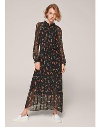 ME+EM Insect Print Sheer Sleeve Maxi Dress - Black
