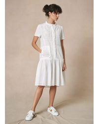 ME+EM Bespoke Broderie Cotton Swing Dress - White