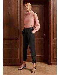ME+EM Satin Detail Tapered Trouser - Black