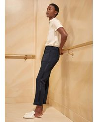 ME+EM Grosgrain Stripe Slim Crop Trouser - Blue