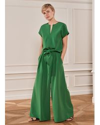 ME+EM Super Wide-leg Trouser + Belt - Green