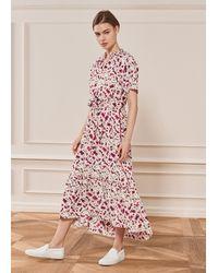 ME+EM Fuchsia Floral Print Fluid Sleeve Maxi Dress - Multicolour